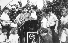 The Quarrymen with John Lennon performing on July 6, 1957