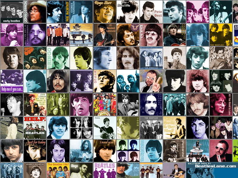 beatles wallpapers. A wallpaper featuring some of